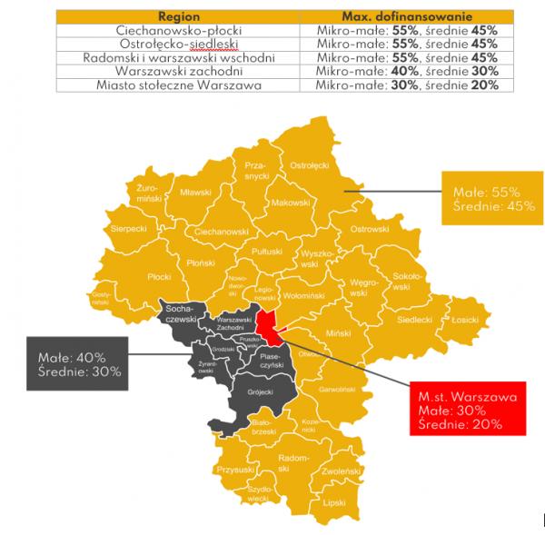Mapa prezentująca poziomy dofinansowania w RPO 3.3 Mazowieckie