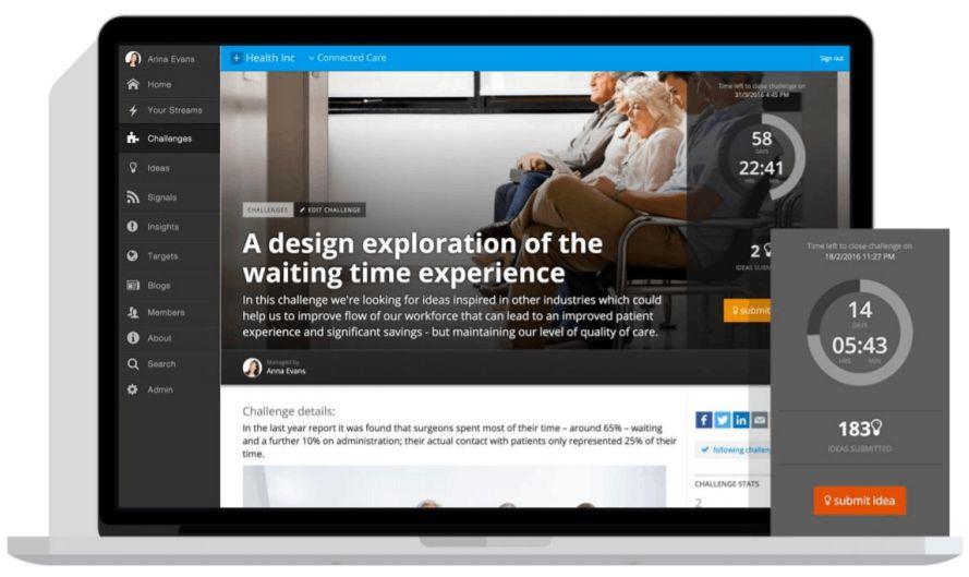 Interfejs systemu Innovationcast prezentujący ekran główny do zarządzania innowacyjnością