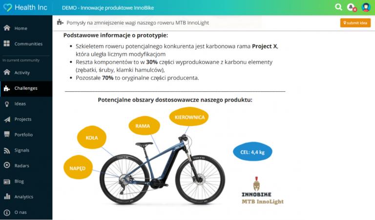 Interfejs systemu Innovationcast prezentujący ekran zarządzania projektami