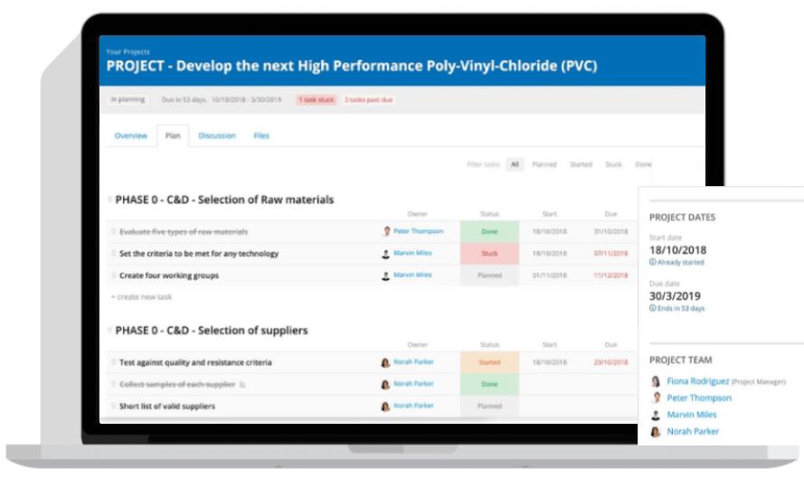 Interfejs systemu Innovationcast prezentujący ekran główny do zarządzania projektami